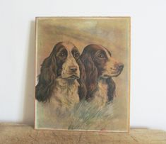 Vintage french oil painting on panel Painting on paper and Wooden panel x cm x 20 cm) - Vintage condition with signs of age Vintage Dog, French Vintage, Water Font, French Curtains, Dog Items, Opaline, Crucifix, Still Life, France