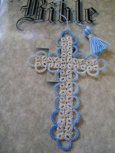 Bible Bookmark Tatted Cross Handmade by FairyTattingAndTings, $8.00