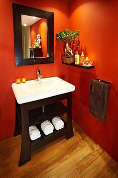 Burnt Orange Bathroom Love The Wall Color Tile And