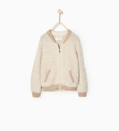 Image 1 of SHINY KNIT BOMBER CARDIGAN from Zara