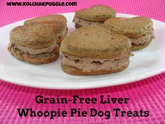 Kol's Notes: Tasty Tuesday: Grain-Free Liver Whoopie Pie Dog Treats ~T~ leave out the garlic powder since excess garlic is not good for your dog and use sweet potatoes. Dog Cookie Recipes, Homemade Dog Cookies, Homemade Dog Food, Dog Treat Recipes, Healthy Dog Treats, Dog Food Recipes, Pet Treats, Baby Recipes, Meal Recipes