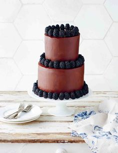 Dark chocolate and blackberry cake recipe from Decorated by April Carter | Cooked