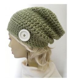 Sage Green Slouchy Beanie Bohemian Chic Hand Crocheted Hat womens fall  autumn winter fashion accessories   d859990fe1d3
