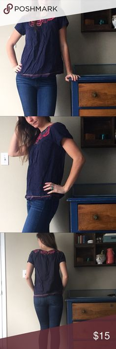 Cute shirt Navy shirt with floral embroidery. In great condition. great plains Tops Blouses