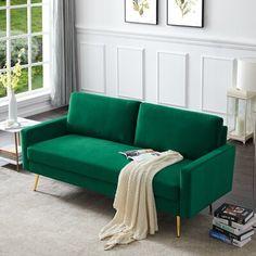 Mercer41 Velvet Fabric Sofa Couch Green 71.7 x 30.7 in | Wayfair Canada