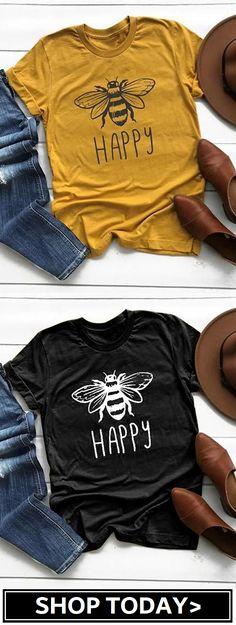 Plus Size Women Summer Tee Shirt Cotton Round Neck Bee Print T-shirts Tops Shirts & Tops, Vinyl Shirts, Mom Shirts, Cute Shirts, Tees, Cute Shirt Designs, Teacher Shirts, Diy Shirt, Personalized T Shirts