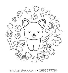 Kawaii, Kids Board, Corgi Dog, Illustration, Coloring Pages, How To Draw Hands, Cute Animals, Doodles, Snoopy