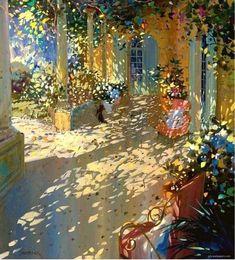 Dappled light is the focus on this Laurent Parcelier painting Watercolor Landscape, Landscape Art, Landscape Paintings, Watercolor Paintings, Landscapes, Watercolour, Action Painting, Painting & Drawing, Light Painting