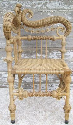 Heywood Wakefield Victorian Wicker Chair.