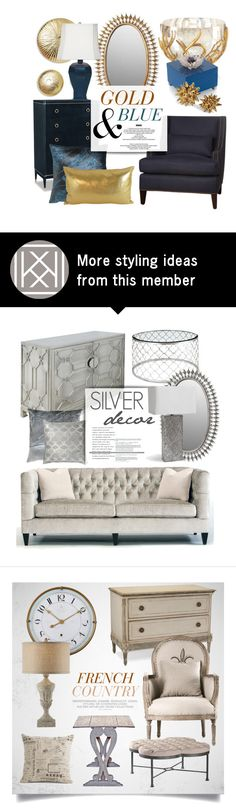 """Gold & Blue Decor"" by kathykuohome on Polyvore featuring interior, interiors, interior design, home, home decor, interior decorating, gold, Home, homedecor and homeset"