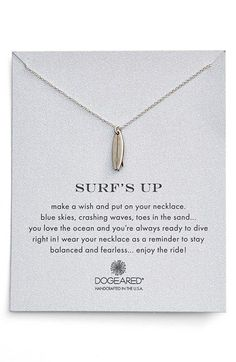 Dogeared 'Reminder - Surf's Up' Surfboard Pendant Necklace