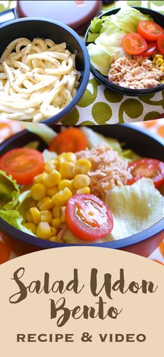 Salad Udon Bento! Visit our site for 100 quick and easy traditional japanese bento lunch box recipes and ideas for adults. Pin now for later!