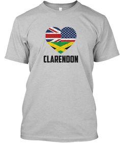 Clarendon US UK and Jamaican Flag Union - Jamaican T Shirt