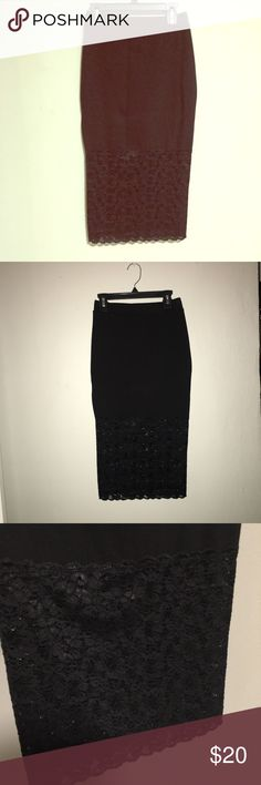 New Black midi skirt with long lace trim *plz read *** not topshop brand** just listed for some exposure on this particular item. Thank you.    Black bodycon style midi skirt with lace bottom. Slip skirt style. Cute and trendy. Wear out with a crop top or during the day with a blazer. Very functional. Size small. Brand new. No flaws. Topshop Skirts Midi
