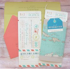 Pack your bags and get ready to fly! This airline ticket boarding pass inspired invitation suite includes plenty of space for all those important travel details. All in one neat and compact package. Invitation suite is bundled in a double layer paper wrap, and includes 1 airplane ticket invitation card with tear-away RSVP tab, 1 luggage tag Insert, 1 3.5 x 5 (8.8cm x 12.7cm) RSVP envelope and 1 4 x 9.5 (10.6cm x 24cm) mailing envelope. Full customization and 10% extra envelopes are included…