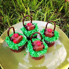 Lawn #Mower #Cupcakes I made for #Father's Day with Green Food Coloring, #Coconut, #Hershey's Nuggets, M & M's and #Chocolate Licorice