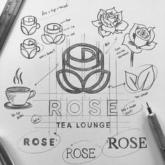 🤨 What's up fellas? Here is Just ROSE + LEAF + TEA logo. Love to see your valuable feedback. Is it visible… Logo Branding, Branding Design, Corporate Branding, Brand Identity, Lounge Logo, Tea Logo, Logo Sketches, Marca Personal, Personal Logo