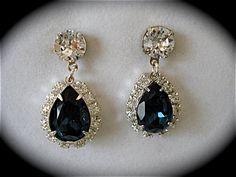 Dark Blue Teardrop Earrings Crystal Montana Bridal