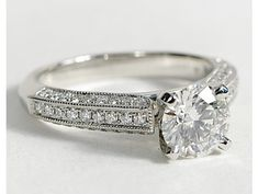 Milgrained Cathedral Pavé Diamond Engagement Ring in Platinum #BlueNile