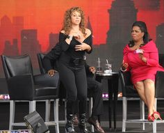 Singer Mariah Carey and TV personality Oprah Winfrey appear on The Oprah Winfrey Show: Fridays Live From New York at Rumsey Playfield on September 18, 2009 in New York City.