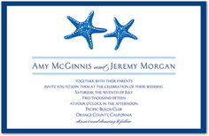 This charming invitation features a pair of blue starfish in a dark blue border. Perfect for beach theme wedding invitations, bridal shower invitations, and sea side celebrations. Beach Invitations, Beach Theme Wedding Invitations, Bridal Shower Invitations, Pacific Beach, Beach Club, Beach Themes, Starfish, How To Plan, Couples