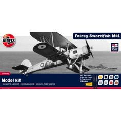Fairey Swordfish Sink the Bismarck by Airfix set includes: Humbrol poly cement, 2 paint brushes and 8 acrylic paints. Historically important, the Fairey Swordfish took part in many memorable events of the war in a torpedo bombing role. Sink The Bismarck, Fairey Swordfish, Airfix Models, Mk 1, How To Memorize Things