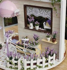 Pretty lavender miniatures for my dollhouse.