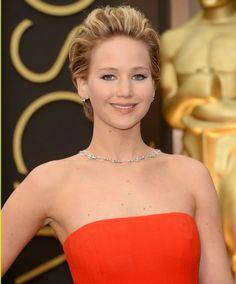 Jennifer Lawrence in Neil Lane`s Crystal, Diamond Necklace at Oscars 2014
