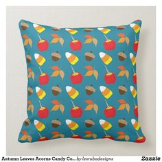 Autumn Leaves Acorns Candy Corn Candy Apple Throw Pillow Candy Apples, Candy Corn, Custom Pillows, Decorative Throw Pillows, Home Goods Decor, Home Decor, Halloween Pillows, Couch Pillows, Wedding Color Schemes