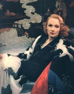 Actress Marlene Dietrich in a very special kimono decorated with flying cranes.  1930's
