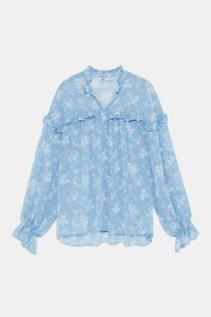 ZARA - Female - Floral print blouse with ruffle - Sky blue - Xs Zara Shirt, Crop Top Shirts, Zara Tops, Sheer Blouse, Printed Blouse, Evening Gowns, Blouses For Women, Casual Outfits, Floral Prints