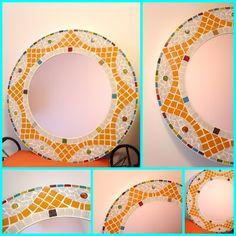 Que cosa fuera corazón, que cosa fuera...: Espejo decorado con venecitas en mosaiquismo. 50 cm de diámetro