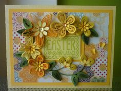 """Handmade Greeting Yellow Paper Quilling Card """"Easter Wishes"""" with Quilled Flowers and Butterfly (Easter) by FromQuillingWithLove"""