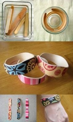 Bracelets made from popsicle sticks.  What an awesome cheap and easy craft! decorating-ideas-and-crafts