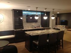Basement Bar With TV Mounted