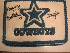 Dallas Cowboy cake: I could make this for Johnny on his BDay :)