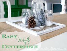 Easy Winter Centerpiece Winter Decor Mason Jars A Sunday Afternoon.com
