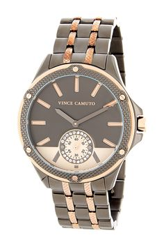 Women's Crystal Accented Two-Tone Bracelet Watch by Vince Camuto on @nordstrom_rack