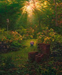 "Scott Prior, Barbecue and Ball, 2008, oil on panel, 18 x 15"" at William Baczek Fine Arts www.wbfinearts.com"
