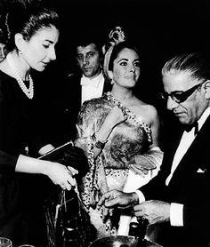 ♥ Maria Callas, Elizabeth Taylor  and Aristotle Onassis