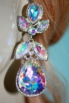 "Rhinestone Chandelier Earrings Austrian Crystal Bridal Prom Pageant 2.6"" AB 