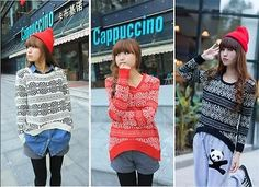 Casual Loose Porcelain Geometric Knitted Sweater Jumper Pullover Cardigans Tops