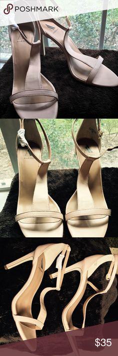Ava & Aiden Cream Leather Strappy Heels NWOT Cream Leather 4 inch T strap leather heels. NWOT. Shoes Heels