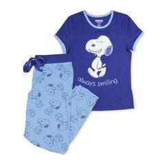 Peanuts Women's Snoopy Pajama Set - Matching Blue Pajama Top and Lounge Pants Snoopy Pajamas, Womens Pj Sets, Always Smile, Cotton Pants, Novelty Gifts, Lounge Pants, Pajama Set, Funny Tshirts, Peanuts