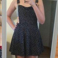 Cotton On Pinafore Dress Navy blue & white Polkadot pinafore style dress. The straps cross in the back but otherwise it's totally open. Very cute but sadly too short for me :( Cotton On Dresses