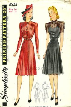Vintage 1940s Tucked Bodice Shirtwaist Dress Pattern Sheer Bodice Overlay Pleated Flared Skirt 1941 Simplicity 3523 Bust 32