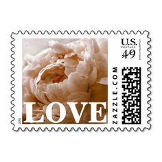 Personalizable / customizable, latte brown peony LOVE postage stamps can be ordered as is (with LOVE text) or customized with your own text, couple's names, special date, etc. in your favorite font(s) and colors. Available horizontal or vertical, in a variety of postage denominations, and matching items (invitations, stickers, favors, etc). #peonies #stamps #peony #brown #latte