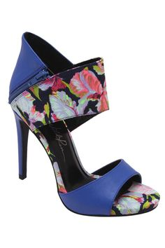 Wild Rose - Cara-04 Floral Wide Band Stiletto Heel in Royal Blue $39.99