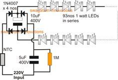 Simplest 100 Watt LED Bulb Circuit | Homemade Circuit Projects