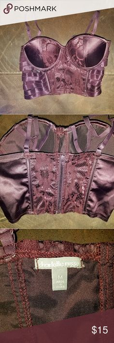 Caged bra/cami top NWOT Charlotte Russe Maroon, never worn, NWOT, caged bra cami type top.  The cups are padded, and is a medium in size.  The back zippers. Charlotte Russe Intimates & Sleepwear Bras